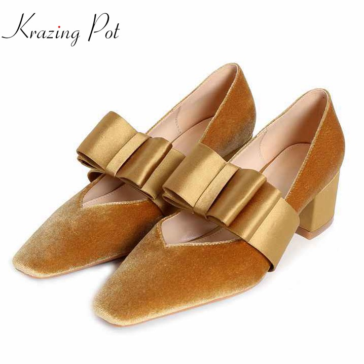 Krazing pot Shoes women fashion velvet shallow square toe preppy style med heel metal bowtie pumps summer superstar shoes L51 krazing pot sheep suede rabbit fur superstar preppy style bowtie casual shoes pointed toe flats sweet women outside slippers l71