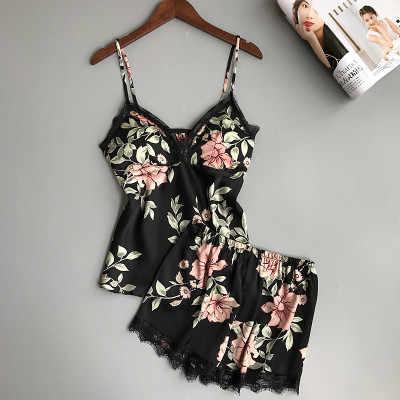 Для женщин Пижама, сексуальное нижнее белье пижама с цветком атласные пижамы летняя Пижама модная пижама ночная одежда для дома с нагрудники