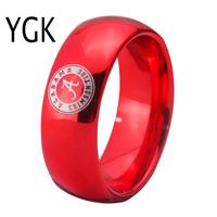 YGK JEWELRY Alabama Design Ring 8MM Width Red Color Domed Tungsten Carbide Wedding Ring