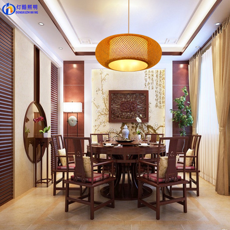 Chinese bamboo creative personality of dining room restaurant balcony retro Pendant Lights  style rattan Pendant Lamps ZS67 chinese style iron rectangula pendant lamps creative personality study the living dining room bar lights za628 zl33 ym