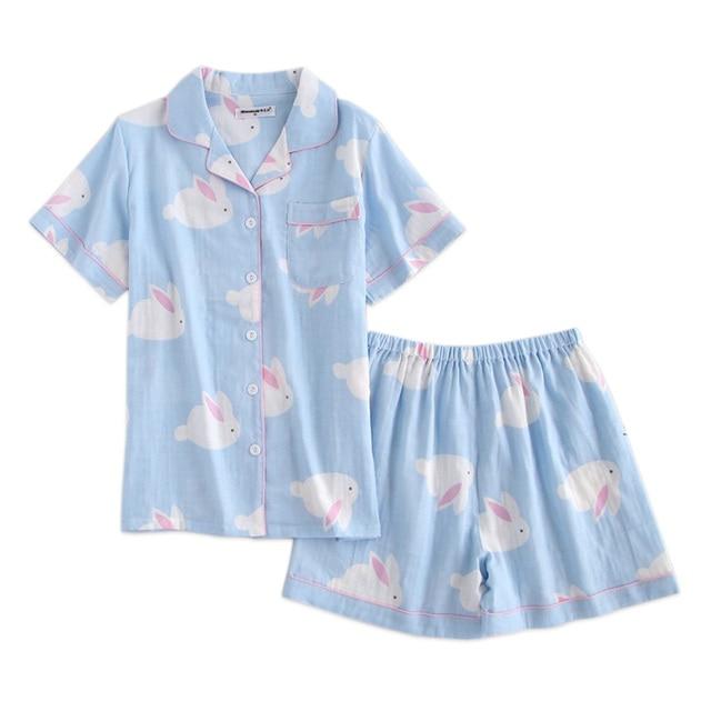 Summer Cute rabbit short sleeves shorts pajama set women 100% cotton sexy  shorts indoorwear woman 6ad49cedf