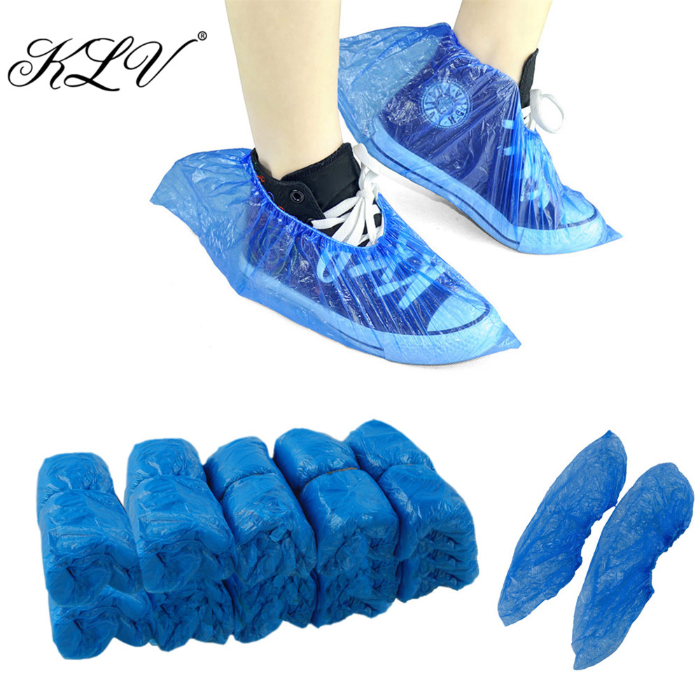 KLV 90Pcs Medical Waterproof Boot Covers Plastic Disposable Shoe Covers Overshoes medical 5l 90