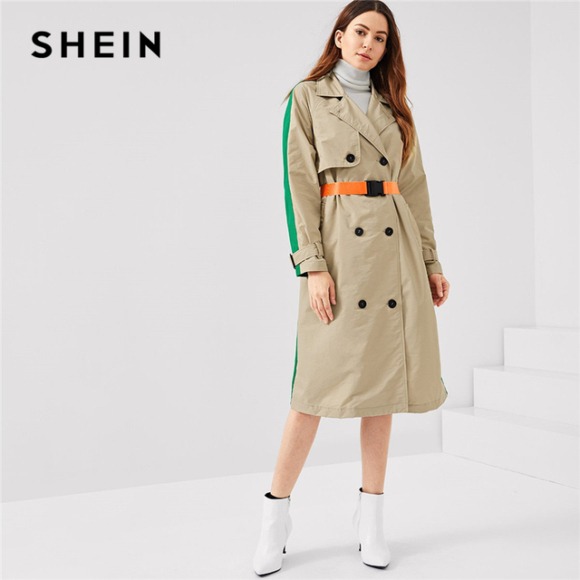 f0cb9f0a28 SHEIN Multicolor Office Lady Highstreet Colorblock Pocket Double Breasted  Trench Coat 2018 Autumn Elegant Women Coats Outerwear