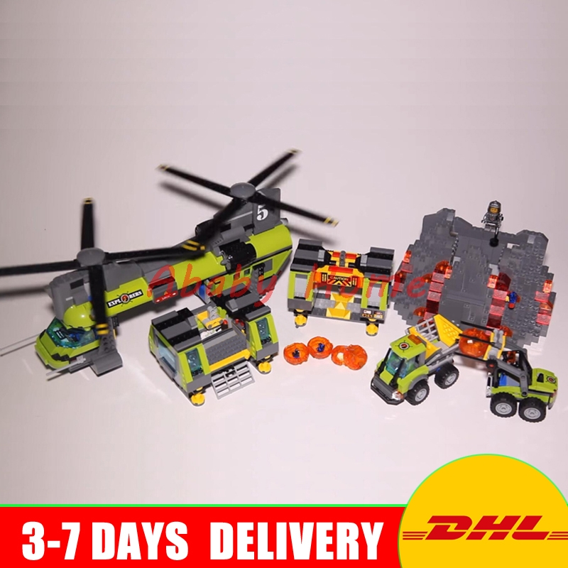 Lepin 02087 The Volcano Heavy-Lift Helicopter Set 1430Pcs City Series 60125 DIY Building Blocks Bricks Christmas New Year Gifts the new jjrc1001 lepin city construction series building blocks diy christmas gift for kid legoe city winter christmas hut toy
