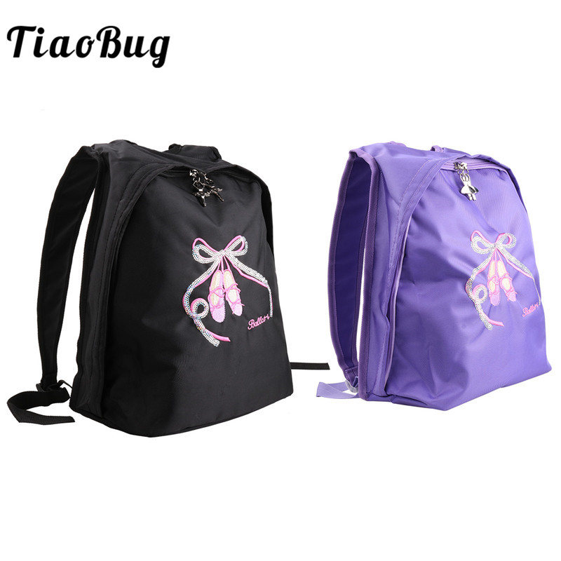 TiaoBug Girls Toe Shoes Embroidery Ballet Backpack Rucksack Children School Dance Class Daypack Gym Sports Ballerina Backpack