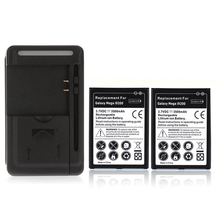 2x Батарея высокое Ёмкость 3500 мАч Замена Батарея + USB стены Зарядное устройство для Samsung Galaxy Mega 6.3 i9200, бесплатная доставка