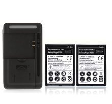 2x Battery High Capacity 3500mAh Replacement Battery + USB Wall Charger for Samsung Galaxy Mega 6.3 i9200, Free Shipping