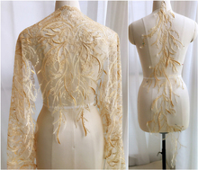 1 Piece/Yard Lace Fabric DIY Decorative High Quality Applique Ivory Golden Trim Clothing Sewing