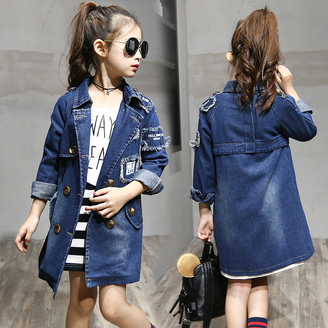 2016 Girls denim Jackets Fashion Double-Breasted Denim Coats New Kids Trench Coat For Girl Long Jackets Autumn Children Clothing