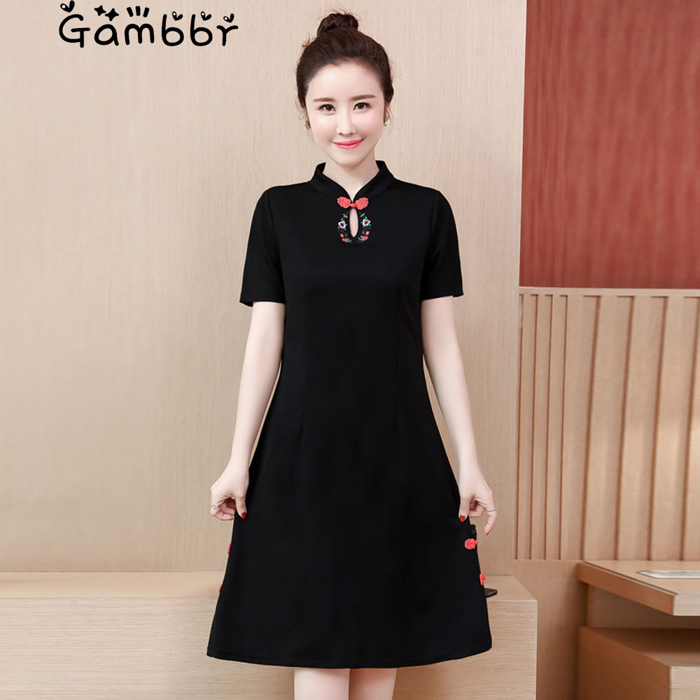 Plus Size Black Chinese Style Cheongsams Dress 2019 Short Sleeve Elegant High Quality Vintage Embroidery Improved Qipao Dresses