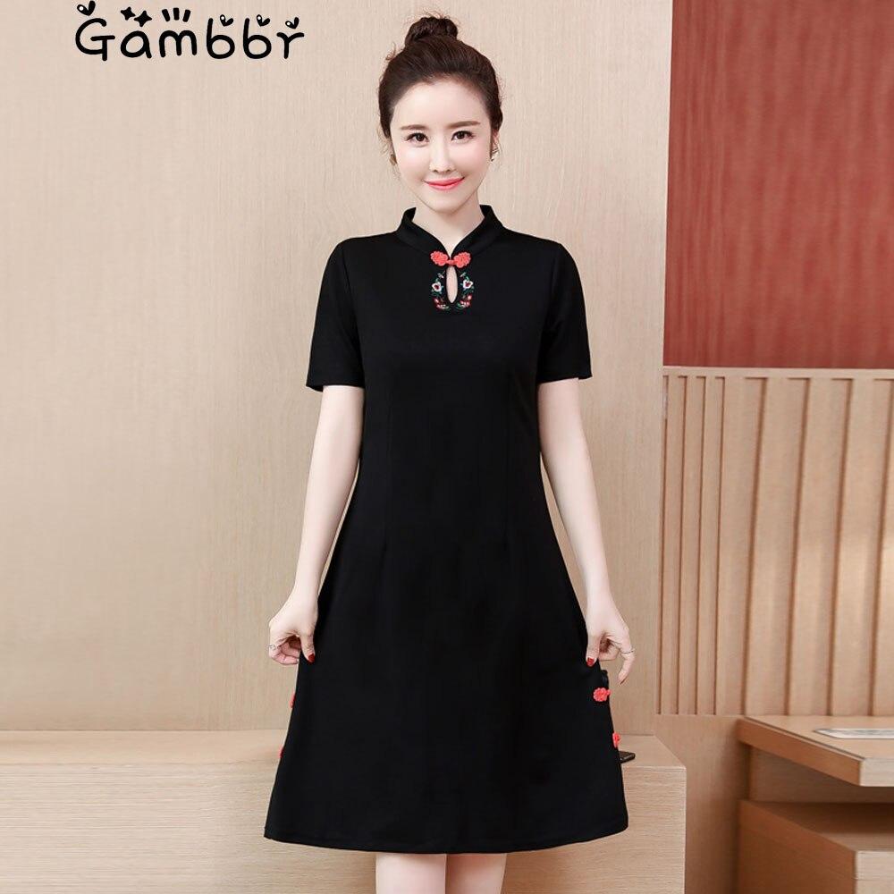 Plus Size Black Chinese Style Cheongsams Dress 2019 Short Sleeve Elegant High Quality Vintage Embroidery Improved Qipao Dresses