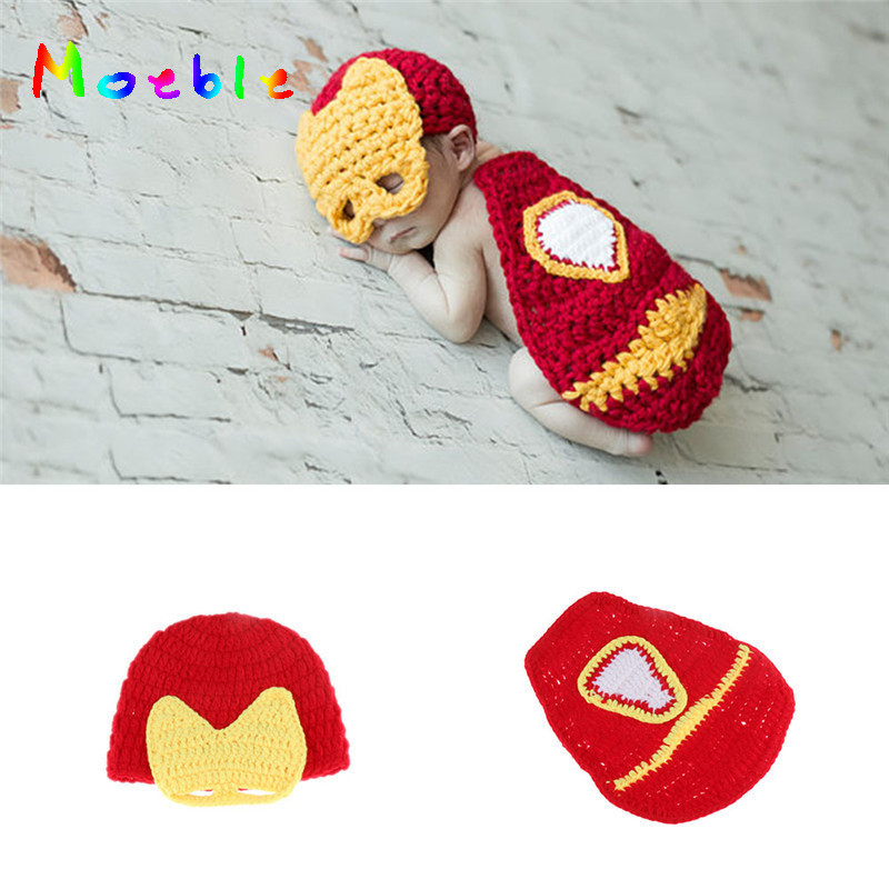 Hot Sale Newborn Superhero Photography Props Knitted Iron Man Costume for Photo Shoot Crochet Baby Hat Beanies Photo Props