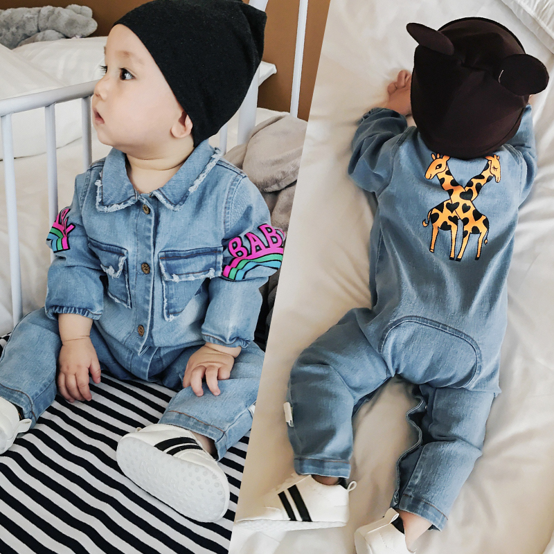 Baby Jeans Jumpsuits Fall Long Cotton Rompers Baby Boys Overall Outfits for Girls Dear Rainbow One-piece Costumes 1Child Clothes baby rompers spring autumn cartoon dog baby clothes cotton long sleeve jumpsuits boys girls rompers baby outfits girls clothes