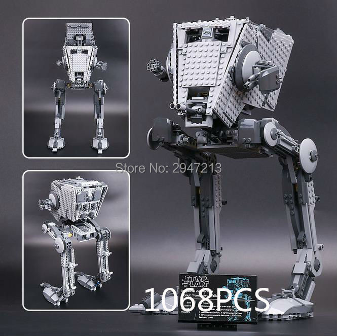 2017 hot compatible LegoINGlys Star Wars series Building Blocks empire AT-ST walking robot model brick toys for Children gift hot compatible legoinglys star wars series building blocks imperial shuttle warships with figures brick toys for children gift