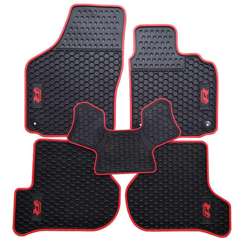 NoOdor Waterproof Carpet Durable Rubber Car Floor Mats for Volkswagen Golf Scirocco R 6 RHD Right Hand Drive With TSI ABT R Logo