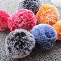 Women Bag Charms 10cm Fur Pom Pom Balls with Elastic Imitation Rabbit Fur Pompom Double Colors Gradient  Keychain Accessories