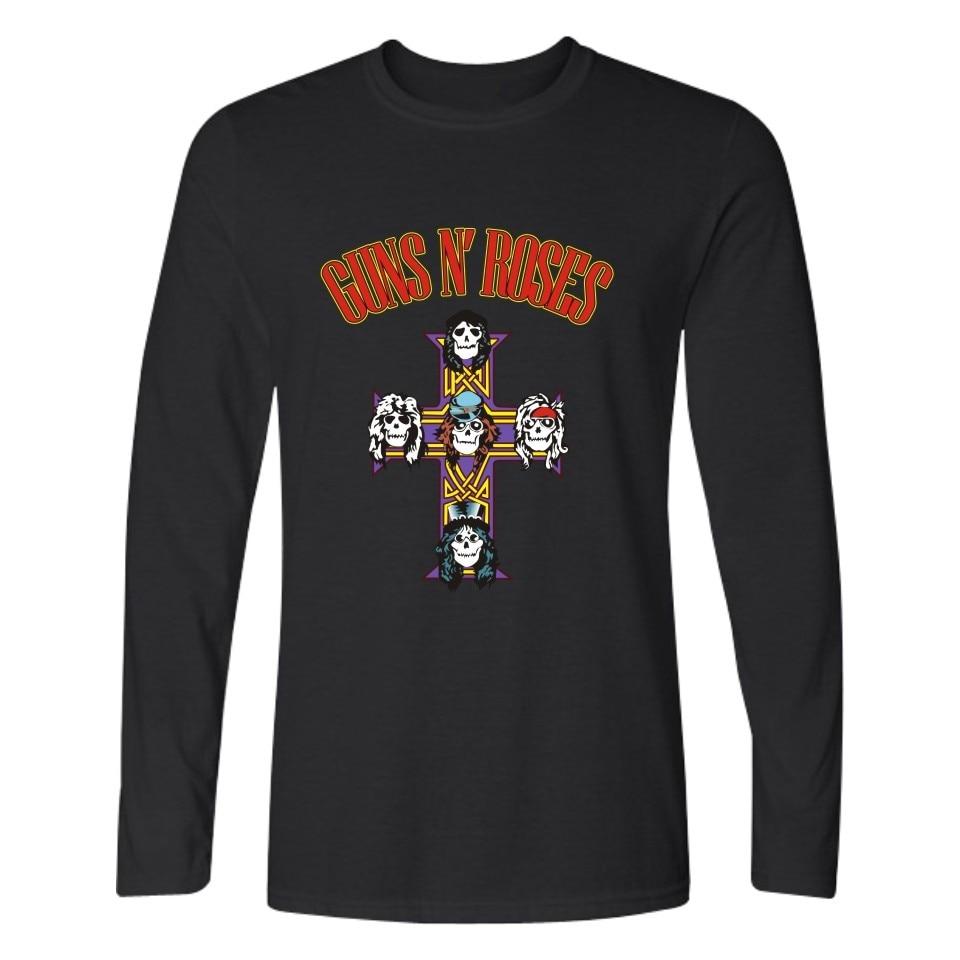 Guns n Roses T Shirt Men Women 2018 Cotton Pepe Le Pew Slash T-shirt 4XL Metal Rock Punk Music Men Long sleeve Tshirt Men Tops