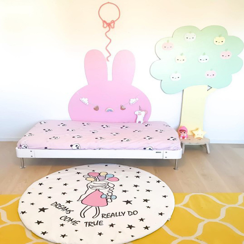 Cute Cartoon Play Mat Cotton Baby Kids Crawling Rug Kids Room Decor Floor Carpet Children Quilted Blanket