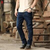 Bierelinnt 2017 New Fashion Autumn Winter Washed Straight Slim Fit Jeans Men Cotton Denim Good Quality