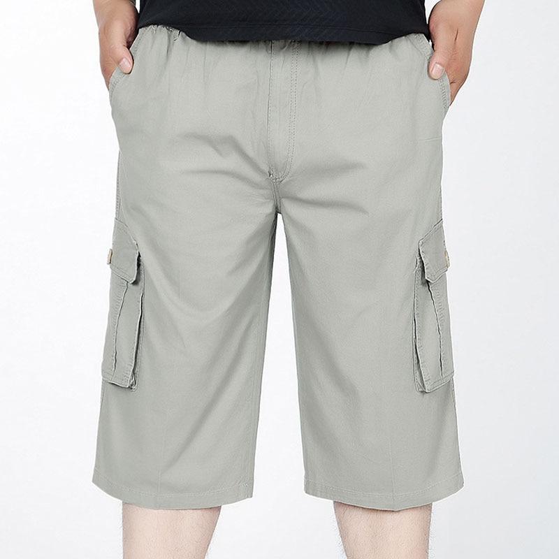 MFERLIER Loose Casual Summer Shorts Men Size XL-6XL Long Men Shorts Knee Length 4 Colors