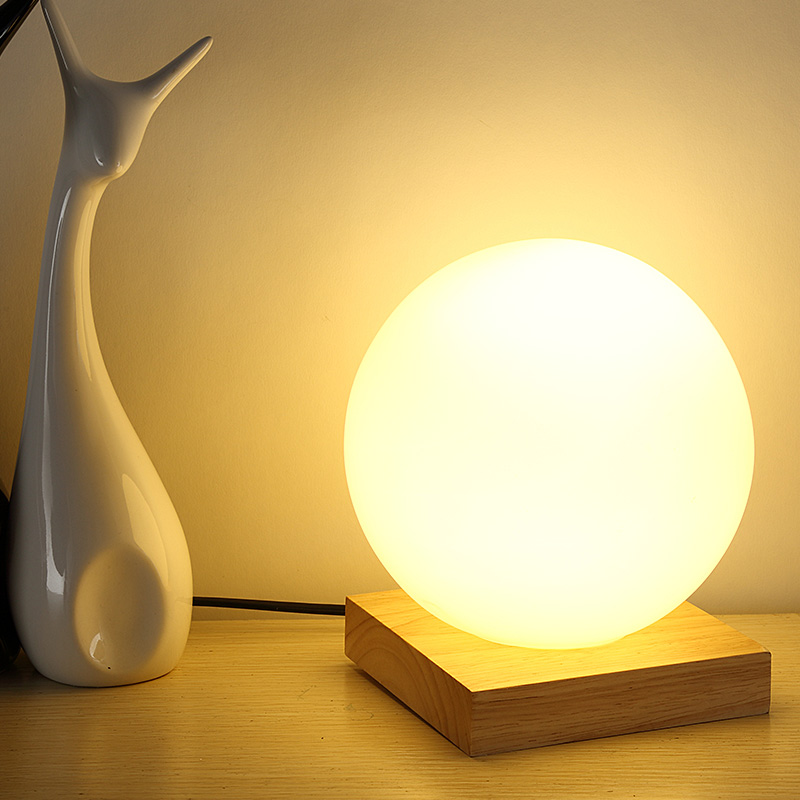 Feimefeiyou 15 см простое стекло креативный теплый диммер ночник настольная кровать украшение шар деревянная маленькая круглая настольная лампа