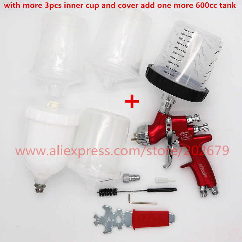 free shipping spray gun with Mixing cup pps No clean tank LVMP High quality England spray