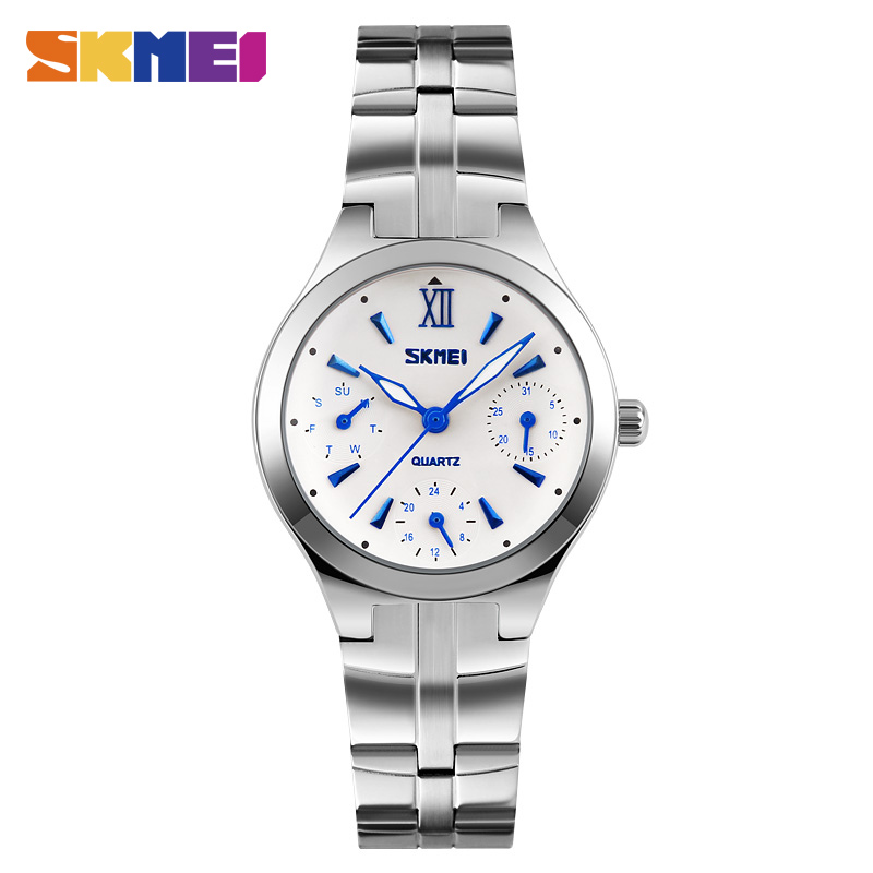 SKMEI Quartz Watches Women Complete Calendar 30M Water Resistant Dress Watch Stainless Steel Band Lady Wristwatches 9132
