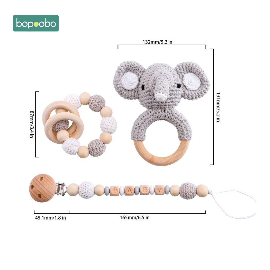 Bopoobo Baby Pacifier-Chain Rattle Wooden Customized Silicone Bracelet Crib DIY Food-Grade