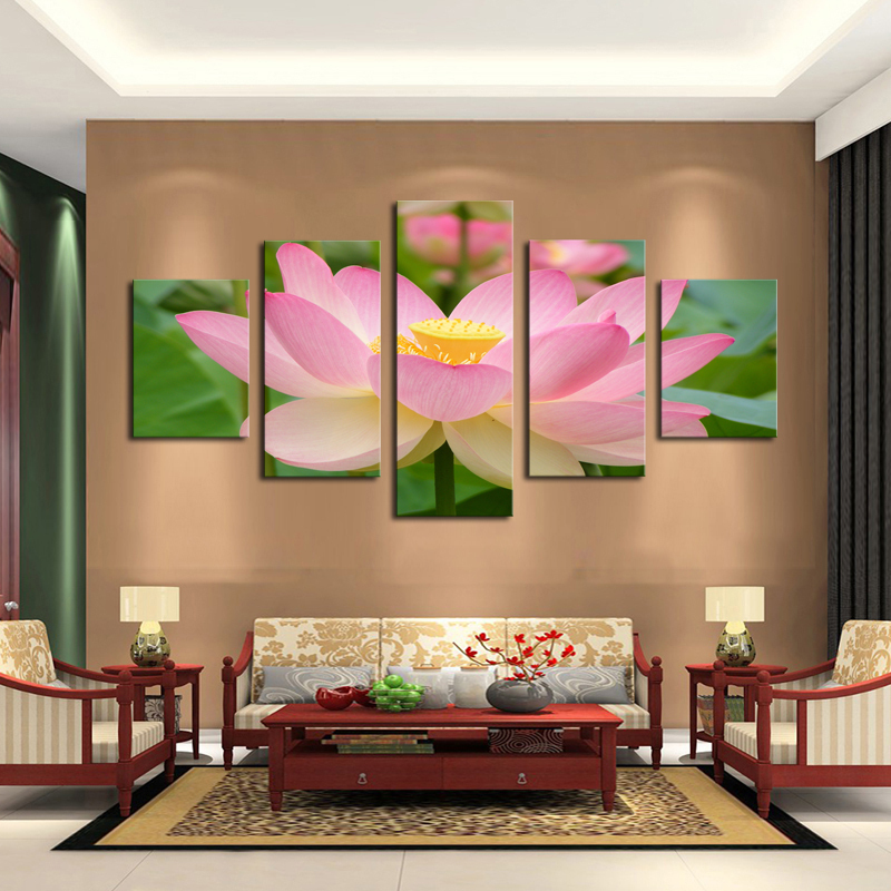 Buy 5 Panel Pink Lotus Modern Painting Canvas Wall Art Picture Home Decoration