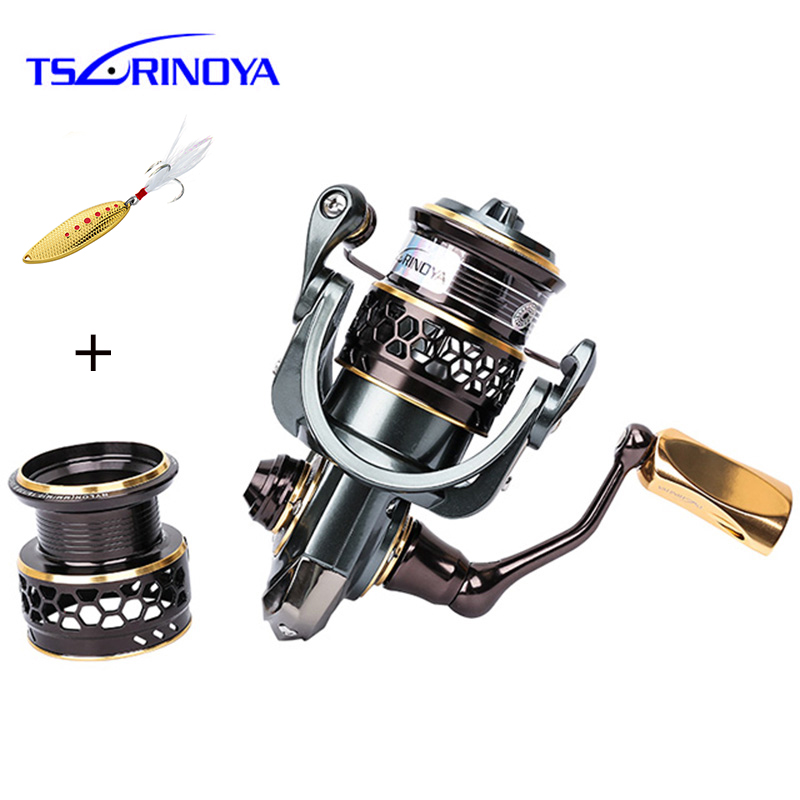TSURINOYA Jaguar 1000 2000 9 1BB Fishing Reel Spinning Carp Squid Saltwater Metal Handle 2 Spool