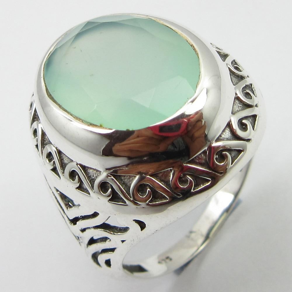 Silver Aqua Chalcedony Ring Size 6.75 New Stone Unique Designed