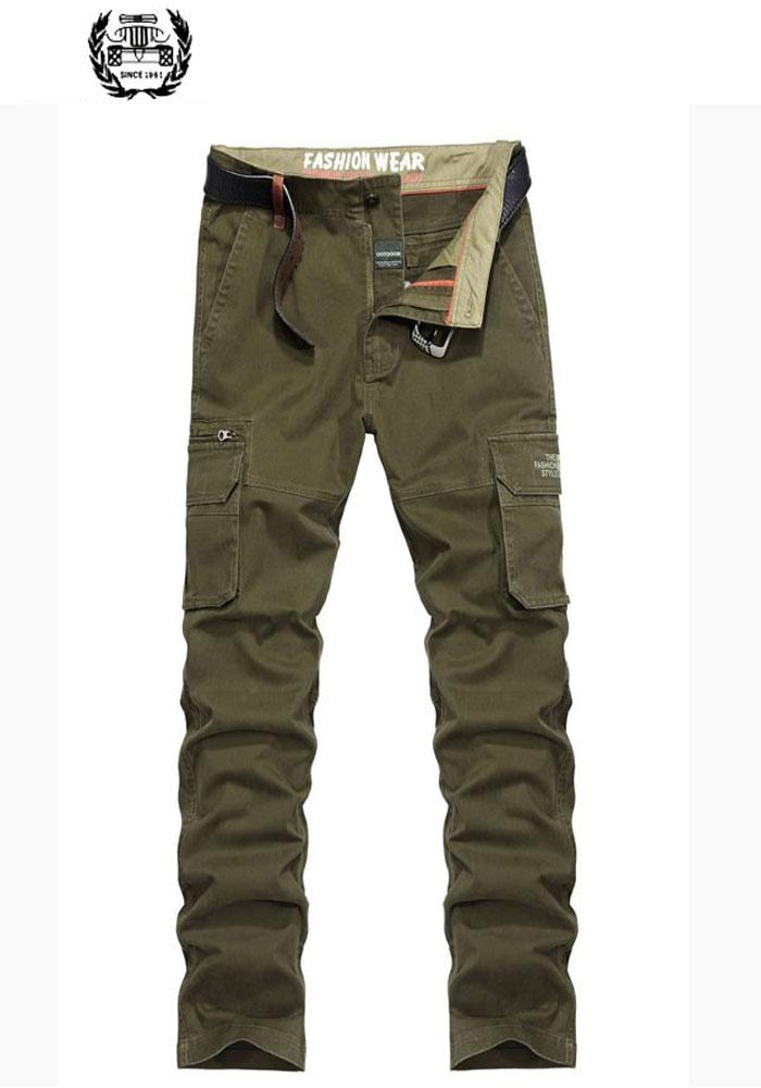 2019 Frühling Herbst Männer Casual Cargo Hosen Einfarbig Gerade Hose Baumwolle Mitte Taille Military Marke-kleidung Hosen Business Elegant Im Stil