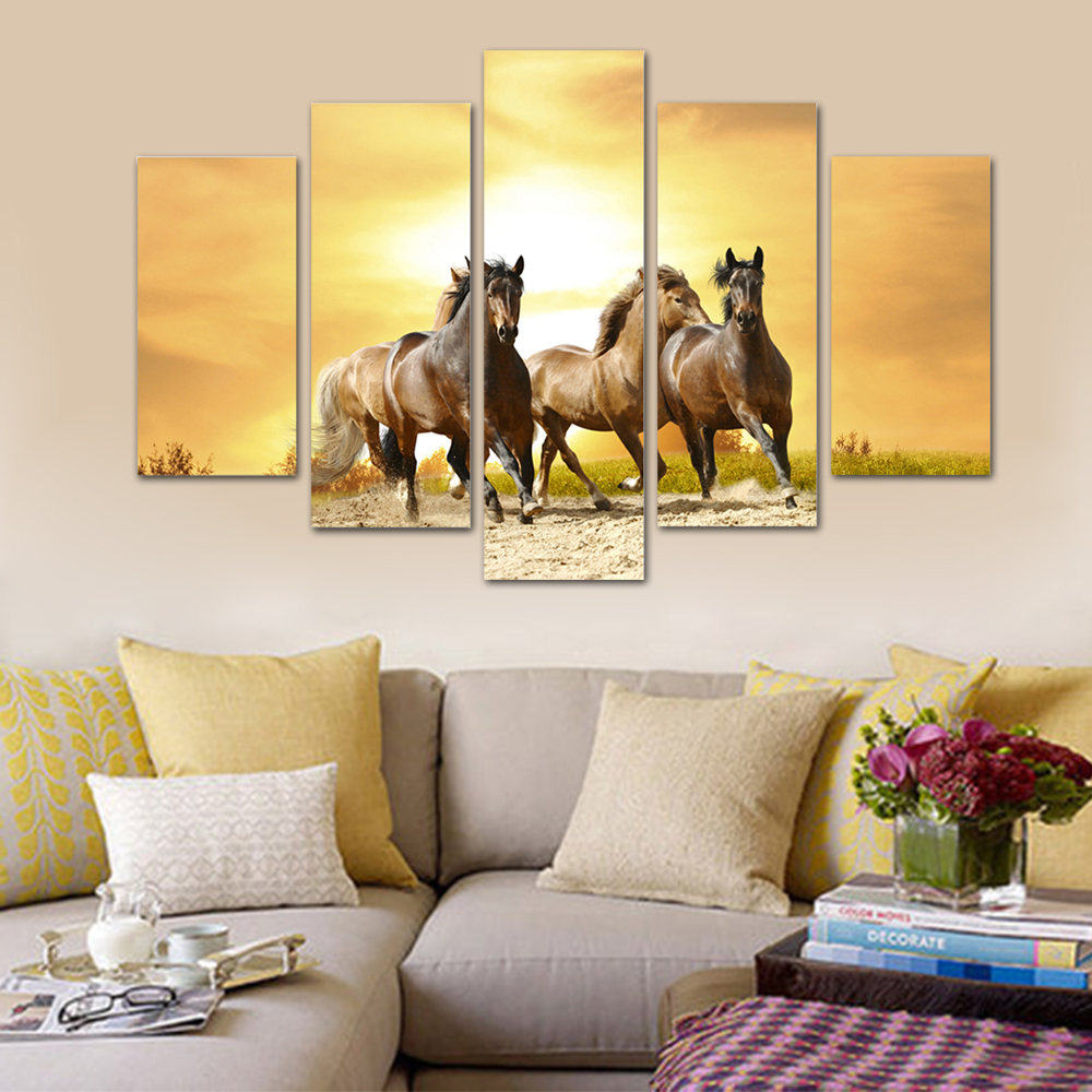 Unframed HD Print 5 Canvas Art Painting Horse Living Room Decoration Spray Painting Mural Unframed Free Shipping