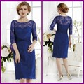 Estilo clássico vestidos de noiva mãe para casamentos vestido de para madrinha de casamento real laço azul comprimento do joelho vestidos