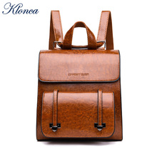 Klonca Retro PU Leather Backpack Female 2019 New British College Style Casual Postman Bag Small
