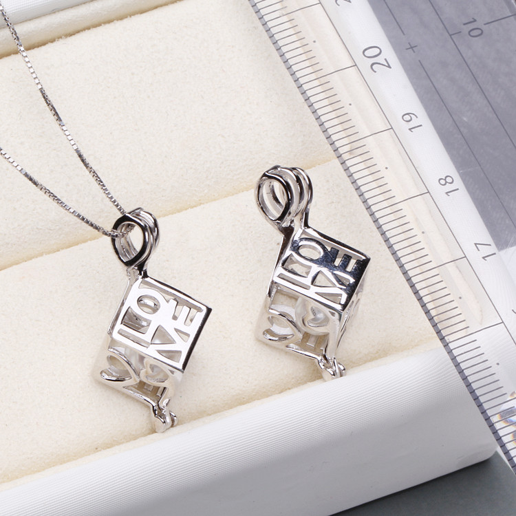 Popular Twisted Jewelry 925 Sterling Silver Wish Pearl Necklace Open LOVE cube Cage Pendant for women Choker necklace diy цена 2017