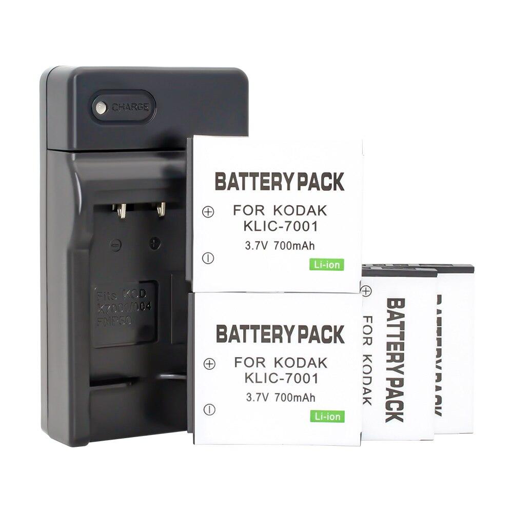Paquet de batteries au lithium KLIC-7001 (paquet de 4 batteries et chargeur K7001) pour Kodak M341 M340 M320 M1073
