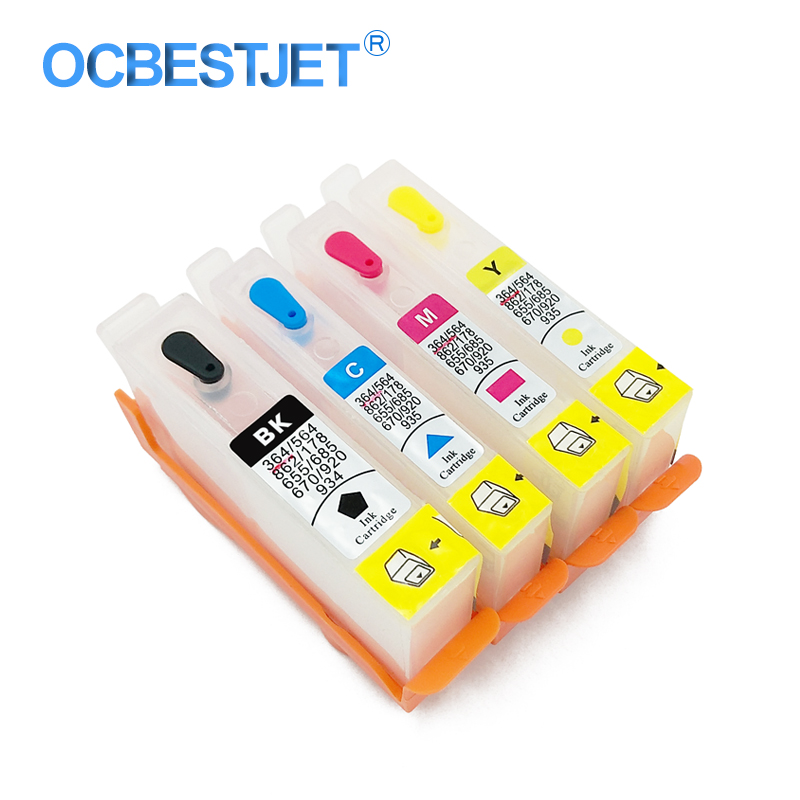 4 Colors For <font><b>HP</b></font> 920 920XL Empty Refillable Ink Cartridge With Chip For <font><b>HP</b></font> Officejet 6000 7000 <font><b>6500</b></font> 6500A 7500 7500A <font><b>Printer</b></font> image