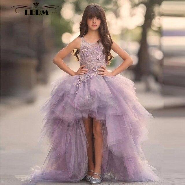 c61355f47ada0d4 Платье с цветочным узором для девочек, новинка 2019 года, фиолетовое  Тюлевое платье с бусинами