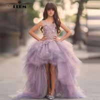 Flower girl dress 2018 new Violet Tulle beaded high, low children beauty pageant dresses pretty kids evening gowns
