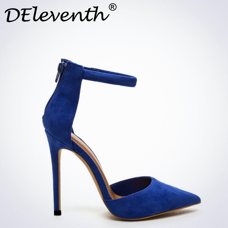 DEleventh Sexy Women Mary Janes Ankle Strap Hollow Pointed Toe High Heels Shoes Thin Heeled Blue Pumps Zapatos de Talon Black new fashion thick heels woman shoes pointed toe shallow mouth ankle strap thick heels pumps velvet mary janes shoes