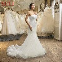SL 036 Real Sale Wedding Dress Strapless Sequins Bride Dresses Tulle 2016