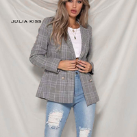 Women Tailored heritage check blazer Double Breasted Blazer