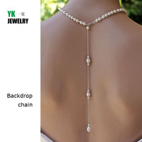 N2016040302 New 2016 Backdrop Necklace Pendant Women Silver Link Drop Back Chain Jewelry Pearl Sexy Wedding
