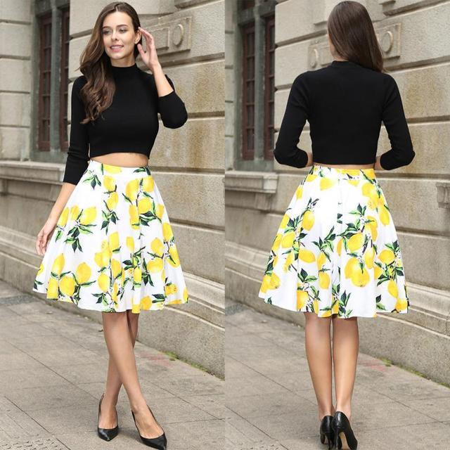 b8baf5dc1d4c 2018 summer Floral print High Waisted Full Circle Pleated A-Line Sexy Midi  Skirt women