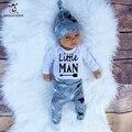 3 pçs/set Outono Roupa Do Bebê Set Criança Meninos Meninas Tops de Algodão Do Bebê Romper Jumpsuit Leggings Calças Chapéus Do Bebê Outfits Set roupas