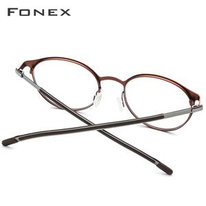 Image 4 - FONEX Titanium Alloy Optical Eyeglasses Frame Women Ultralight Round Prescription Myopia Glasses Men Screwless Eyewear 984