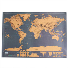 P-flame Hand-drawn World Map Wall Sticker Scratch Off Coating Poster Mapa Mundi Decal Decoration DIY Paiting