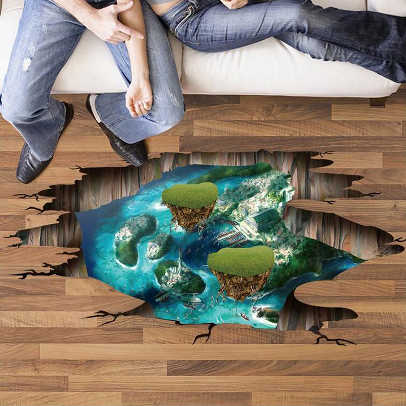 3D island floor wall stickers bedroom self adhesive living room wall pictures removable home decoration wall poster