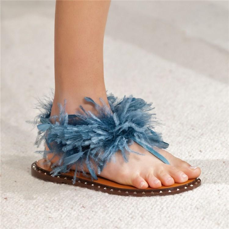 Dipsloot 2019 Lady Sexy Bird Hair Decorated Clip-toe Casual Sandals Women Solid PU Leather Flat Shoes Woman Beach Shoes SandalsDipsloot 2019 Lady Sexy Bird Hair Decorated Clip-toe Casual Sandals Women Solid PU Leather Flat Shoes Woman Beach Shoes Sandals